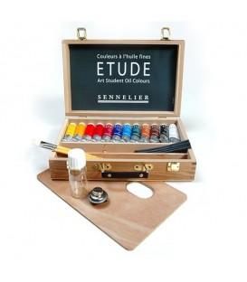 Sennelier | Etude Комплект маслени бои в дървена кутия 12 цвята (34 ml)