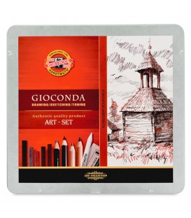 Koh-i-noor Gioconda Drawing Set of Pencils and Sepia Chalks in Metal Case
