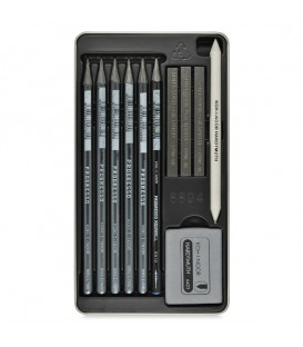 Koh-I-Noor Gioconda Drawing Set with Woodless Pencils and Graphite Blocks in Metal Case