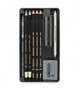 Koh-I-Noor Gioconda Drawing Set with Graphite and Watercolor Pencils in Metal Case