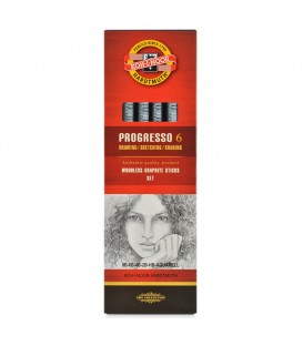 Koh-I-Noor Progresso Woodless Graphite Pencil Set of 6