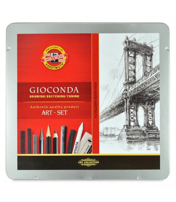 Koh-I-Noor Gioconda Drawing Set of Pencils, Charcoals and Graphite Blocks in Metal Case