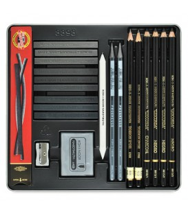 Koh-I-Noor Gioconda Drawing Set of Pencils, Charcoals and Graphite Blocks in Metal Case