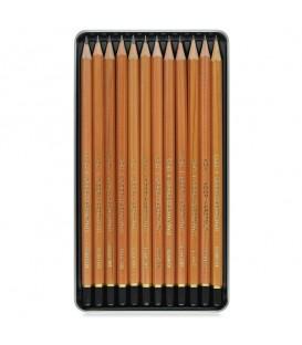 Koh-I-Noor Art Set of 12 Graphite Pencils 8B - 2H in Metal Case - natural wooden envelope