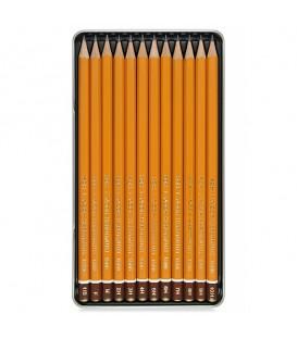 Koh-I-Noor Technic Set of 12 Graphite Pencils HB - 10H in Metal Case