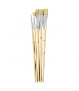 Lukas Set of 5 Flat Brushes, White Chinese Bristle