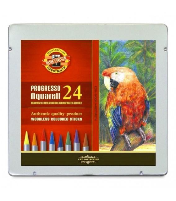 Koh-i-noor Progresso Woodless Aquarelle Pencils Set of 24 Colors