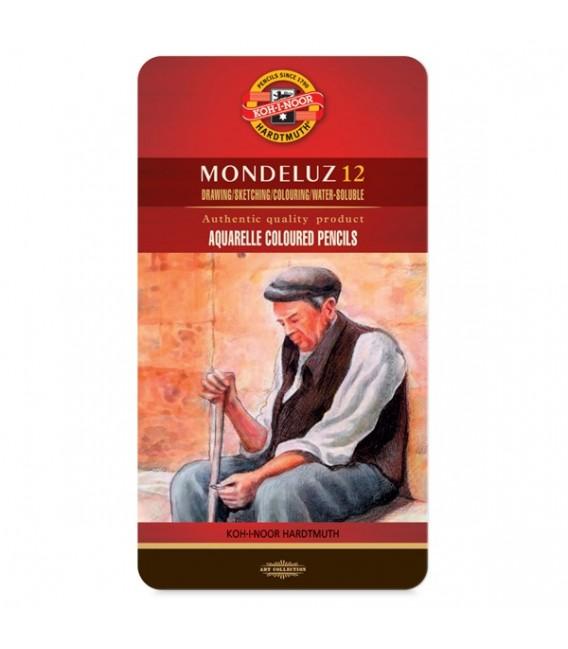 Koh-i-noor | Mondeluz Комплект акварелни моливи в метална кутия 12 цвята