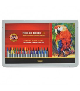 Koh-i-noor Progresso Woodless Aquarelle Pencils Set of 36 Colors