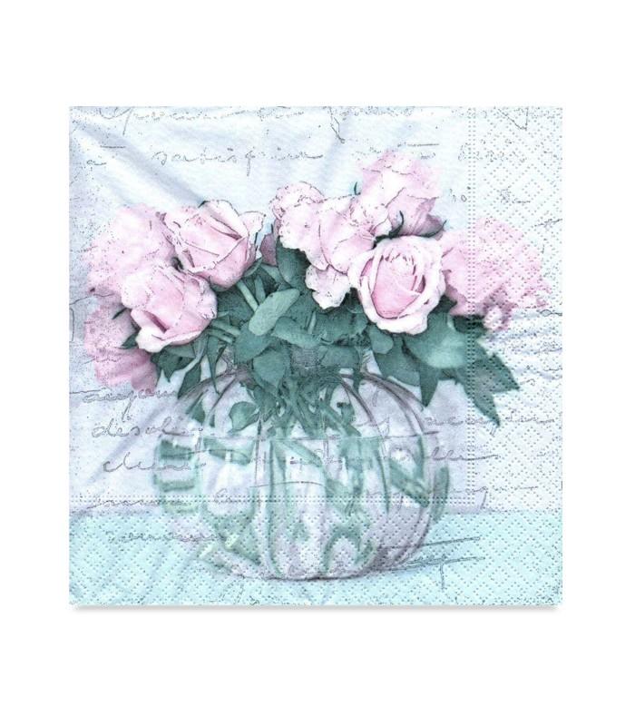 Decoupage paper napkin vase with roses sagen vintage design 33 x 33cm decoupage paper napkin roses sagen vintage design mightylinksfo
