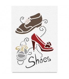 "Country Stencil for Decoration ""Shoes"" Cobea 21 x 29,7 cm (A4)"