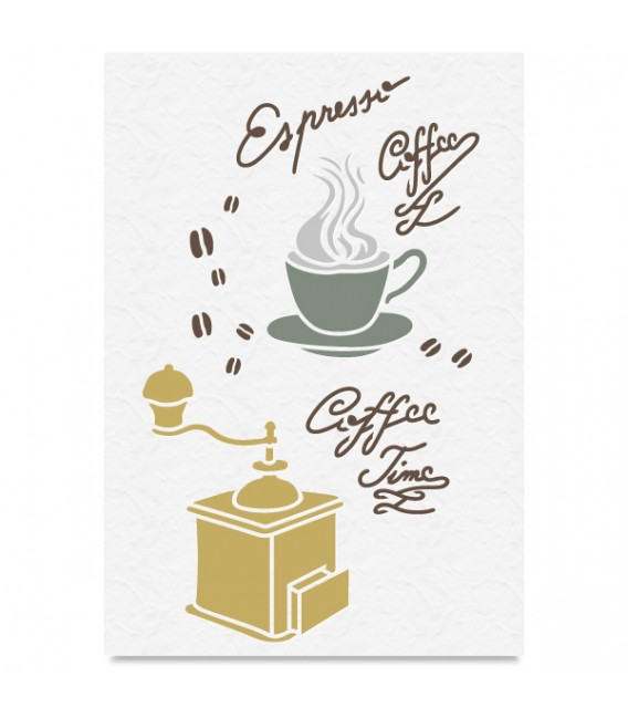 """Country Stencil for Decoration """"Coffee Time"""" Cobea 21 x 29,7 cm (A4)"""