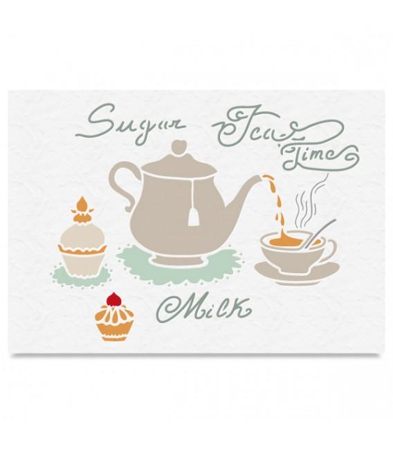"Country Stencil for Decoration ""Tea Time"" Cobea 21 x 29,7 cm (A4)"
