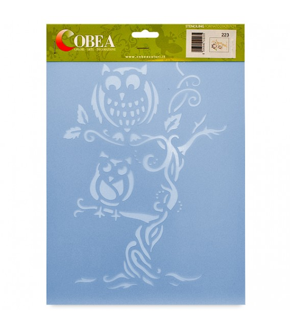 "Country Stencil for Decoration ""Owls"" Cobea 21 x 29,7 cm (A4)"
