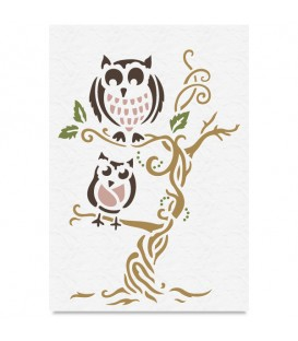 "Country Stencil for Decoration ""Owls"" Cobea 21 x 29,7 cm (A4)"