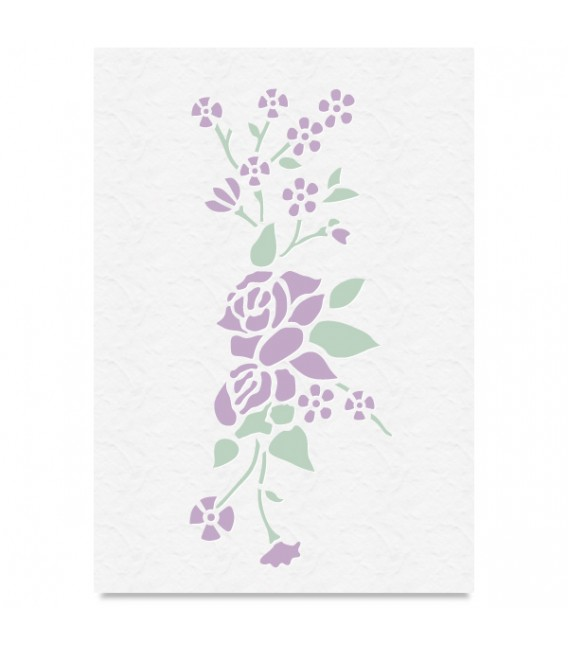 """Country Stencil for Decoration """"Roses and Flowers"""" Cobea 21 x 29,7 cm (A4)"""