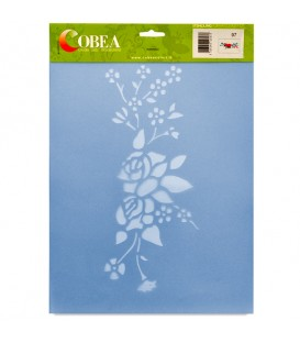 "Country Stencil for Decoration ""Roses and Flowers"" Cobea 21 x 29,7 cm (A4)"