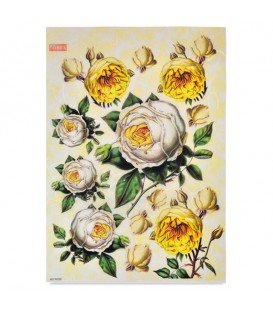 "Decorative Rice Paper ""Yellow and White Roses"" Cobea 30 x 40 cm 25 g / m²"