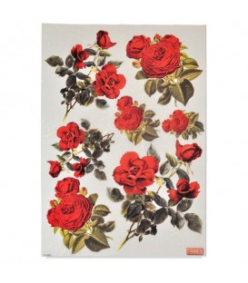 "Decorative Rice Paper ""Red Roses"" Cobea 30 x 40 cm 25 g / m²"
