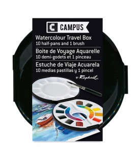 Watercolour Travel Box Raphael Campus 10 half-pans and 1 brush