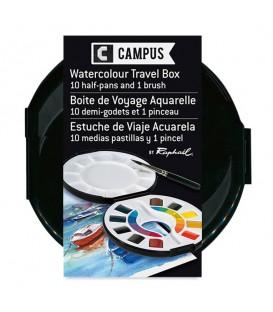 Watercolour Travel Box Raphael Campus 10 half-pans and 1 brush