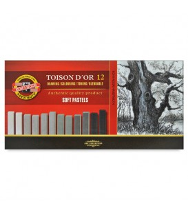 Set of soft pastels Koh-I-Noor Toison d'Or 8592 grey shade 12 colors