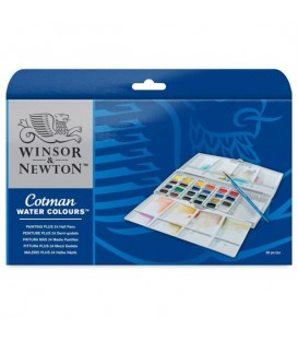 Winsor & Newton Cotman Water Colours Painting Plus 24 Half Pan Set