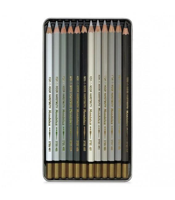Koh-I-Noor Mondeluz Set оf 12 Aquarell Coloured Pencils 3722 Brown Line