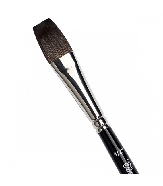 Long flat brush Kazan squirrel hair Tintoretto S951 for ceramic and glass