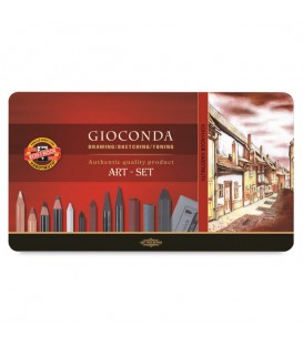 Koh-I-Noor Gioconda Drawing Set of Pencils and Chalks and in Metal Case